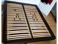 160x200 Bed, Bedframe Dark Wood, Extremely Solid, High-Quality Slats, Euro-Size, IKEA sells Mattress