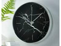 Black Marble Effect Clock NEW