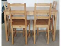 Ikea pine table with 4 chairs