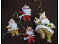 4 Glitter Father Christmas Tree Decorations