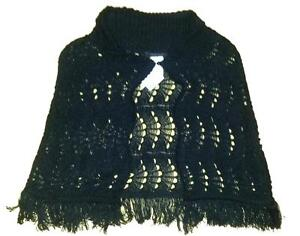 RAMPAGE Crocheted Knit Poncho Cape - One Size - NEW