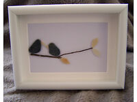 Box Framed Hand Made Birds Pebble Art Picture