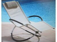 Sun Lounger Moon Rocker Cream Outdoor Garden Chair