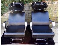 LAST ONE ....D.I.R Luxury Salon/Hairdressing Barbers Wash Basin Recliner Chair Black Chrome Arms Vgc