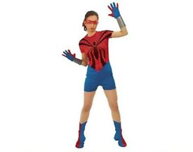 SPIDER GIRL FANCY DRESS OUTFIT SIZE 8/10 ITS JUST THE SUIT AND BOOT COVERS PARTY OR HEN DO