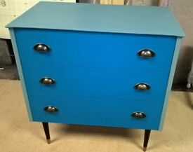Retro 1960's chest of drawers painted a lovely bright blue combo with wax finish