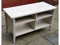 large wooden TV media table bench unit. 110cm x 49cm. In good condition.