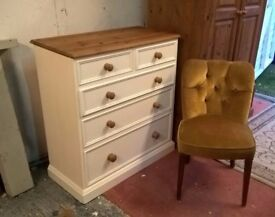 Solid Pine Vintage White Chest Of Drawers *FREE LOCAL DELIVERY* Shabby Chic Dresser
