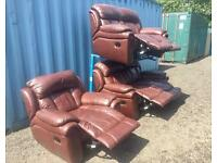 Brown leather recliner suite (Delivery Included)