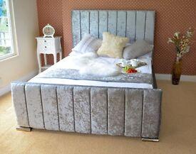 VELVET/LEATHER/CHENILLE UPHOLSTERED BED STORAGE 3' SINGLE 4'6 DOUBLE 5' KING SUPER
