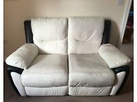 SCS Black & White 2 Seater Recliner Sofa