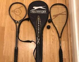 2 squash rackets & 1 cover &2 balls, £15 for all,
