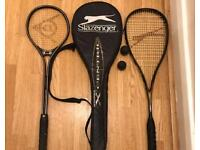 2 squash rackets & 1 cover &2 balls