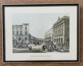 Victorian Lithograph THE QUADRANT REGENT STREET LONDON Print 1852