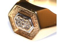 STUNNING 9CT GOLD MEN'S DIAMOND RING FAB DESIGN FREE RESIZING MADE IN ENG FULLY HALLMARKED J4U