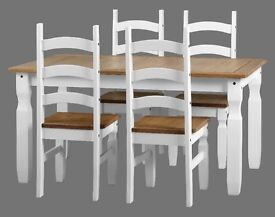 New Corona dining table with 4 chairs in white or grey