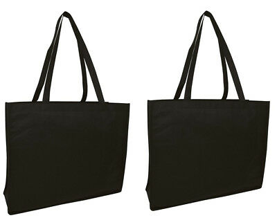 Lot 2 Reusable Shopping Bag Black Grocery Eco Bags Shopping Gift Large Wide