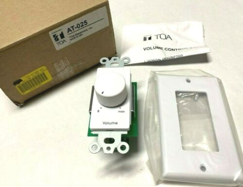 TOA AT-025 25W ELECTRONICS IM LINE VOLUME CONTROL ATTENUATOR WHITE AT -02AM