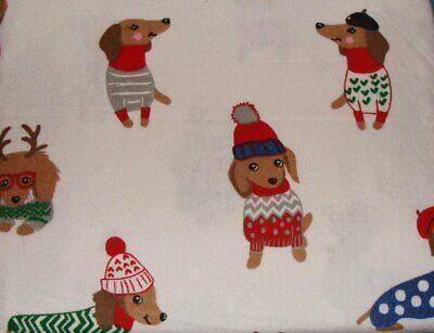 Cynthia Rowley Cotton Flannel Dachshund Dogs Christmas Sweater Hats Sheet Set ()