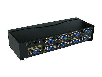 8 Way  SVGA VGA Signal Splitter Boost Box - 1 Computer to 8 x Monitor Screens
