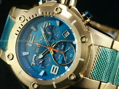Invicta GOLD 51mm XL VIPER Turquoise Speedway Swiss Movmt Chrono 18KGI SS watch