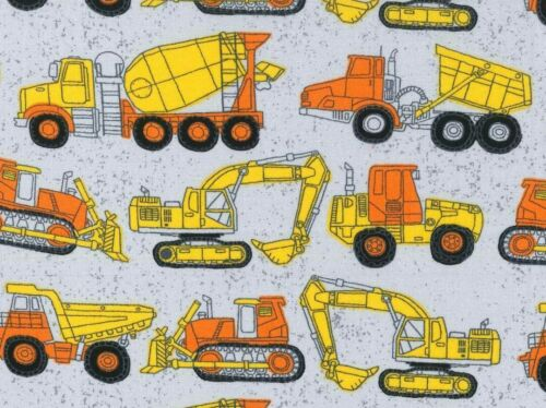 FAT QUARTER COTTON FABRIC  CONSTRUCTION TRUCKS  WORK ZONE  HEAVY EQUIPMENT   FQ