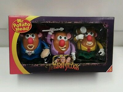 The THREE STOOGES Mr. Potato Head Box Set of 3 Moe Larry Curly BNIB New 2011