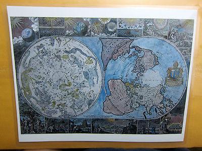 Laminated Flat Earth Heavens and the Earth World mini map 9 x 11.5