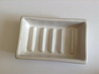 HomArt White Ceramic Soap Dish New Tags On Measures 5 x 3 Inches