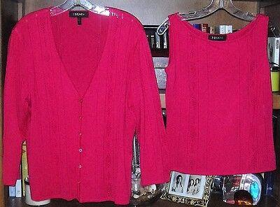 NWOT ESCADA Raspberry knit Tank Top & Cardigan Size 8/14