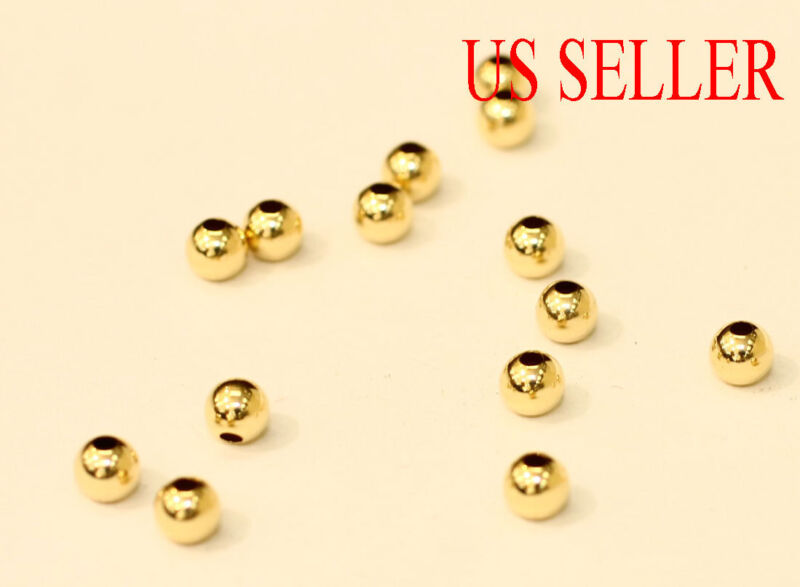 (1 pc )14k solid gold 2 3 4 5 mm  round polish beads / loose  price for 1  piece
