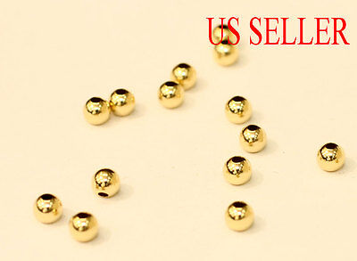 14K Solid Gold 2Mm 3Mm 4Mm 5Mm Round Polish Beads   Price For 10 Pieces