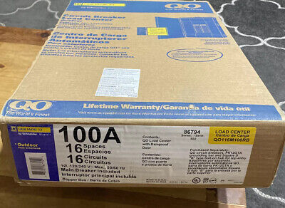 Square D 100 Amp 16 Space Circuit Breaker Box Panel Load Center Outdoor