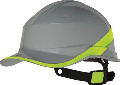 Delta Plus Hard Hat Safety Helmet Grey Hi Viz Band Textile Harness Adjustable