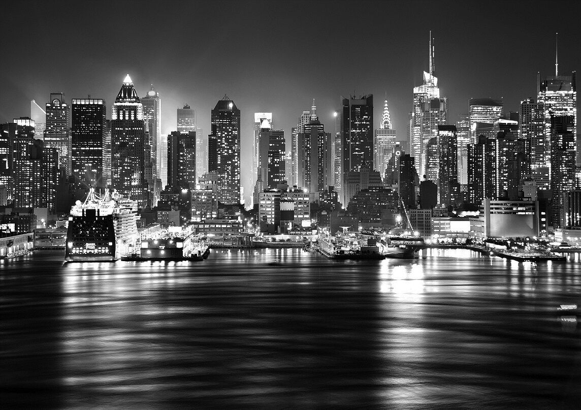 Photo wall murals ebay for Black and white new york mural wallpaper