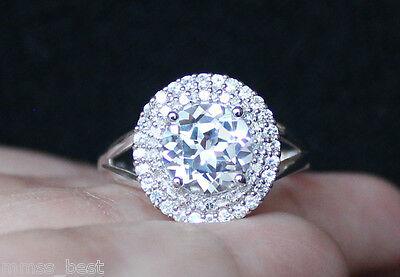 New Zales White Sapphire Diamond Halo Anniversary Engagement Ring S7  Silver