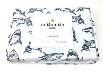 Authentic Kids Twin Set White Shark Print Grey and White Wrinkle-Free