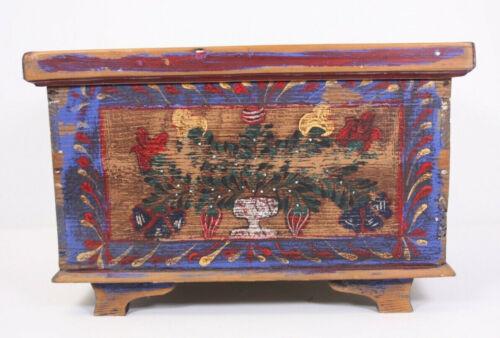"Hand Painted Folk Art Pennsylvania Replica Dovetailed Antique Wood Chest 17"" Box"