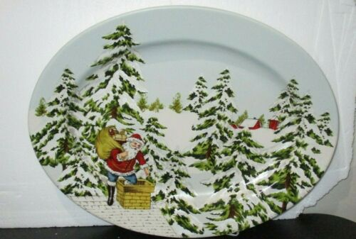 "Williams Sonoma Vintage Chimney Santa  17"" Oval Christmas Serving Platter RARE"