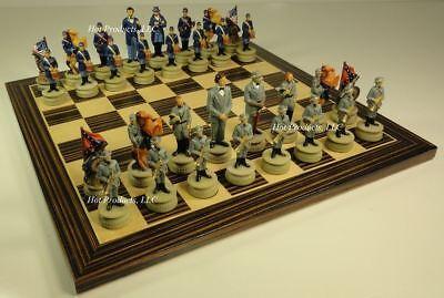 - US CIVIL WAR chess set W/ Ebony Black & Maple Wood Board 14