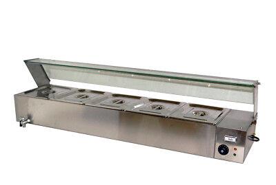 Techtongda 6deep 5 Pan Food Warmer Steamer Warming Tray Kitchen Equipment110v