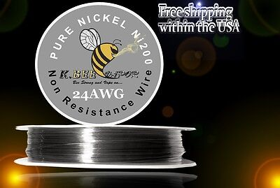Ni200 - 100 Ft 24 Gauge Awg Pure Nickel 200 Non Resistance Wire .51mm 24g 100