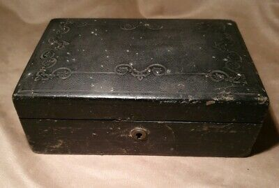 Antique Victorian Campaign Box  Leather Bound Stationary Writing Slope  No Key