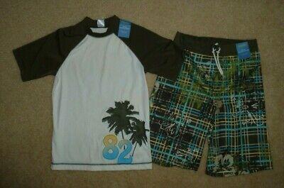 Boys Gymboree swim trunks mesh lined and matching rash guard size 12 Nwt UPF 50+ Boys Lined Swim Trunk