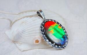 Genuine-Canadian-Ammolite-Pendant-Grade-AA-034-Ocean-Sunset-034-Spectacular-111746