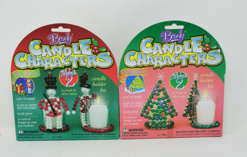 Beady Candle Characters LOT of 2 Kits Toy Soldiers and Christmas Trees Sealed
