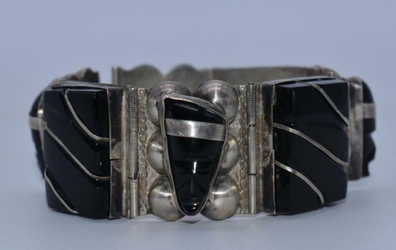 Vintage Sterling 925 Taxco Mexican Chunky Onyx Bracelet ~ Aztec Mayan Designs
