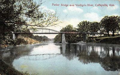 Coffeyville  Ks  Kansas      Parker Bridge  Verdigris River     1909 Postcard