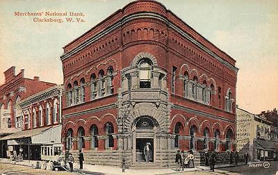 Merchants National Bank Clarksburg West Virginia Postcard  C  1910