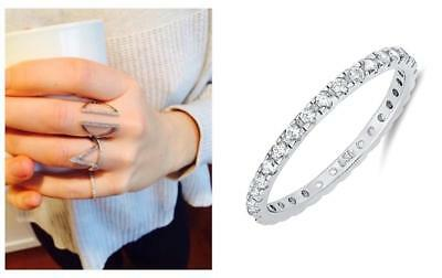 Delicate .925 Silver 2 mm Round Cut CZ Stackable Eternity Band Ring Size 4-10 4 Round Czs Ring